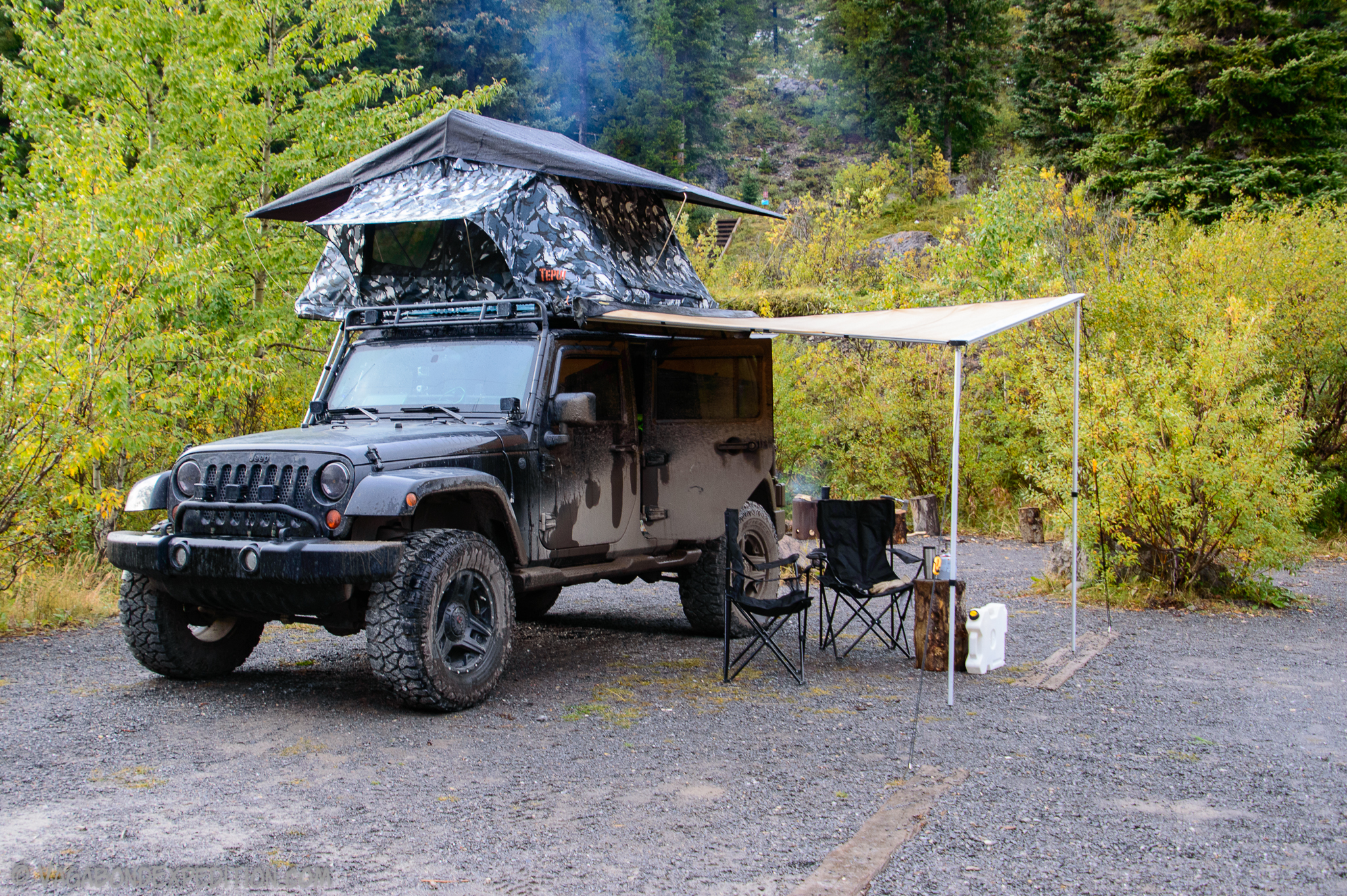 the Jeep Wrangler and Smitybuilt Awning