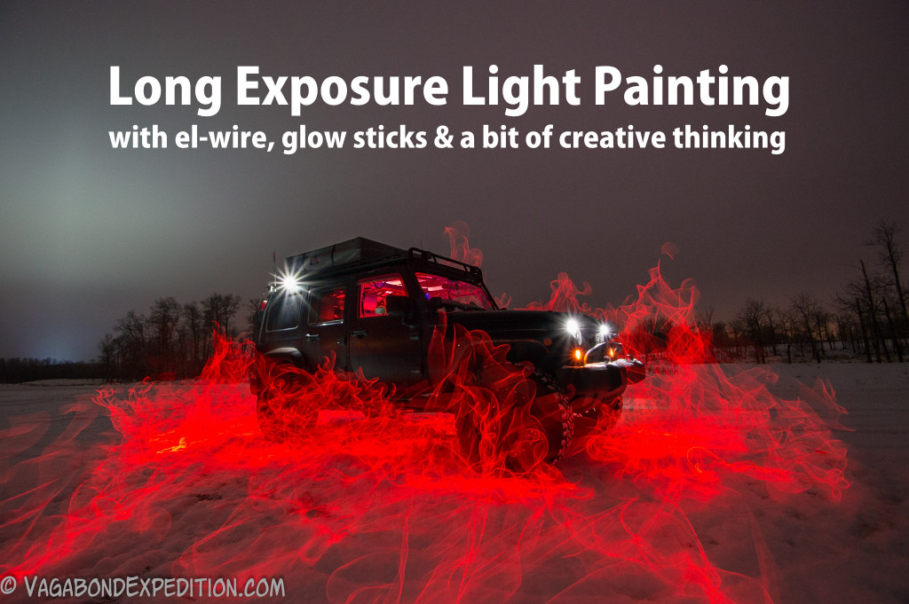 learn the basics of long exposure light painting using electroluminescent wire and glow sticks