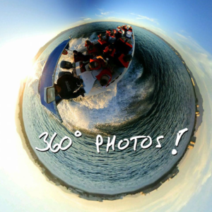 360 degree photo on a speeding boat